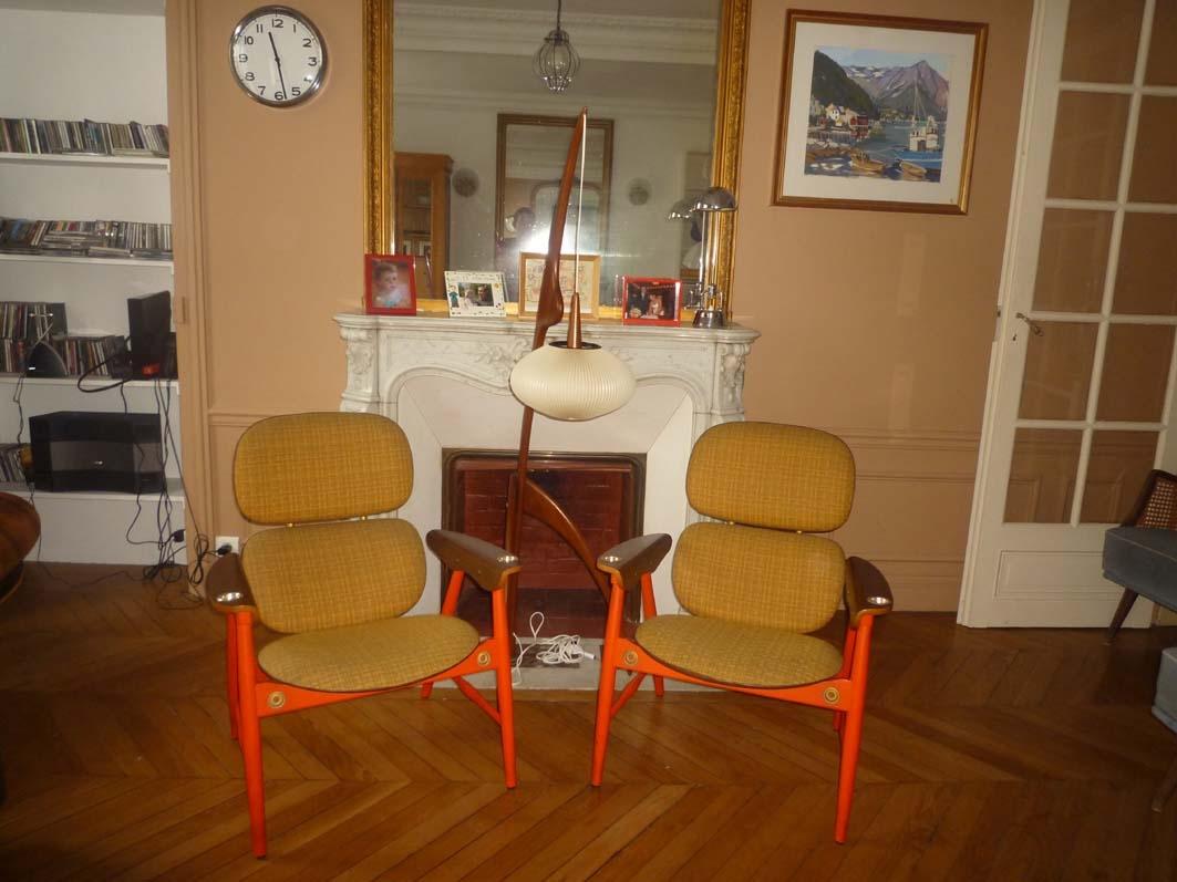 Paire de fauteuils design italien de 1960 l 39 atelier 50 boutique vinta - Fauteuil design italien ...