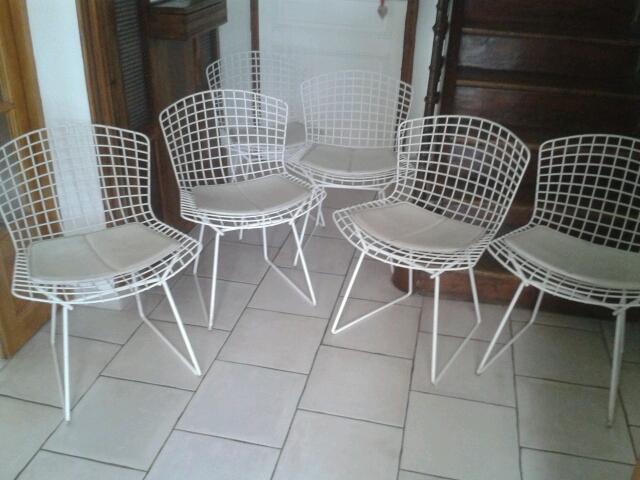 4 chaises harry bertoia dition knoll l 39 atelier 50 boutique vintage achat et vente. Black Bedroom Furniture Sets. Home Design Ideas