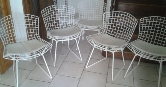 4 chaises Harry Bertoia édition Knoll