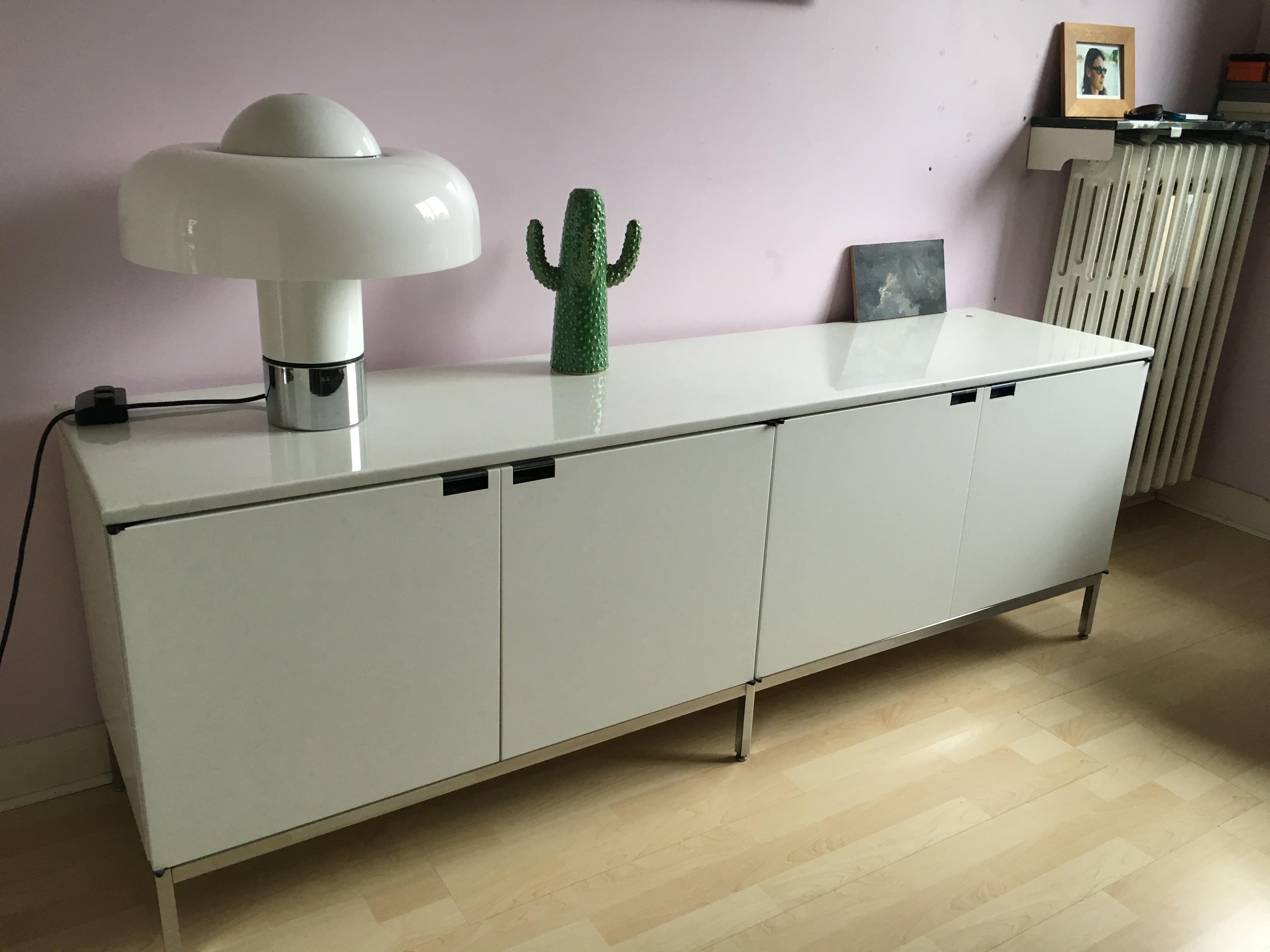 Sideboard enfilade Florence Knoll  marbre blanc